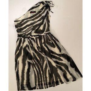 M60 Miss Sixty Black & White One Shoulder Dress